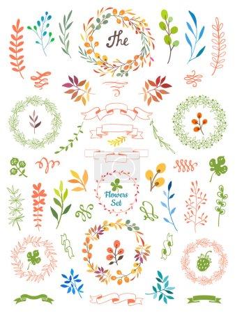 Illustration pour Feuilles de couronnes et fleurs. Couleurs d'automne . - image libre de droit