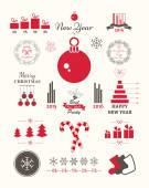 Vector cute Christmas set Holiday decorations