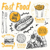 Fast food party Vector illustration of festive traditional American food