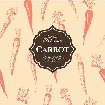 Illustration pour Aliments biologiques frais. Carottes fond. Style vintage. Modèle orange . - image libre de droit