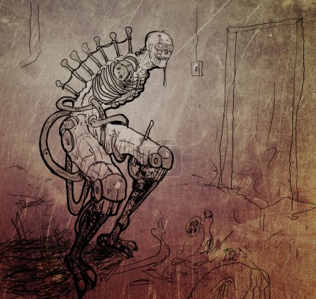 Terrible Cyberpunk Monster without Hands