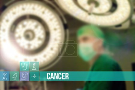 Cancer medical concept image with icons and doctors on background