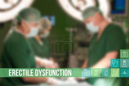Photo pour L'image Erectile Dysfunction concept médical avec des icônes et des médecins sur fond - image libre de droit