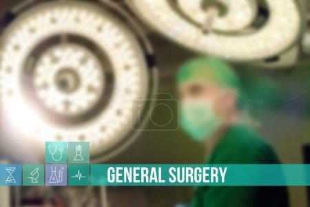 Photo pour Image Chirurgie générale du concept médical avec des icônes et des médecins sur fond - image libre de droit