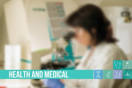 Health and Medical concept image with icons and doctors on background