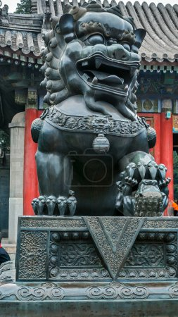 Bronze lion - dog guard at the entrance of Pavilion Goodwill and