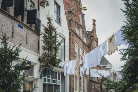 Drying clothes on the street.