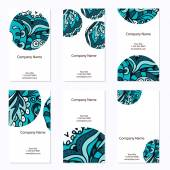Set of six business cards Corporate identity vector template with doodles for your design Vintage pattern in retro style with ornament
