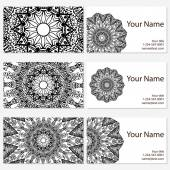 Set of six business cards Vintage pattern in retro style with mandala Hand drawn Islam Arabic Indian lace pattern