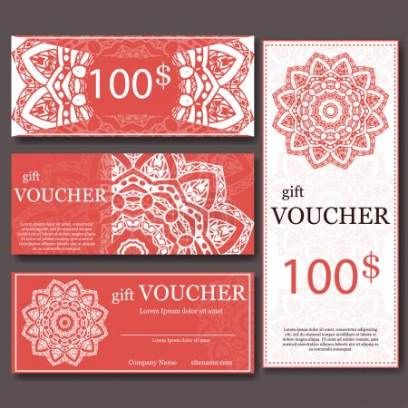 Gift voucher template with mandala. Design certificate for sport or yoga center, magazine or etc. Vector gift coupon with ornament on background.
