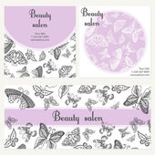 Beauty salon poster with butterfly Card template can be used for spa center yoga or fitness class cosmetic concept Vector illustration
