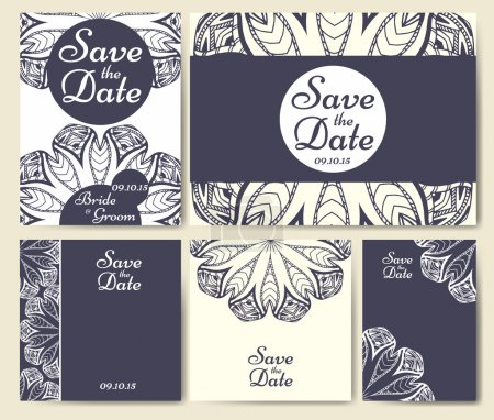 Illustration for Set of wedding invitations. Wedding cards template with individual concept. Design for invitation, thank you card, save the date card. - Royalty Free Image
