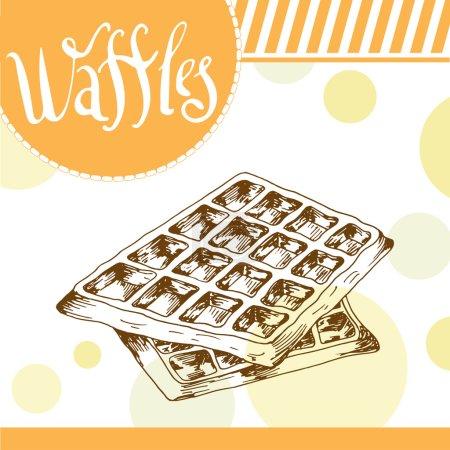Illustration pour Affiche vectorielle avec gaufres dessinées à la main. Délicieux repas. Fond décoratif avec élément typographique. Belle carte - image libre de droit
