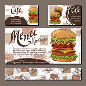 Cafe menu with hand drawn design Fast food restaurant menu template with hamburger Set of cards for corporate identity Vector illustration