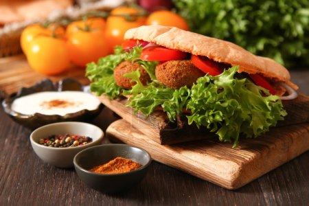 Doner kebab falafel fresh vegetables