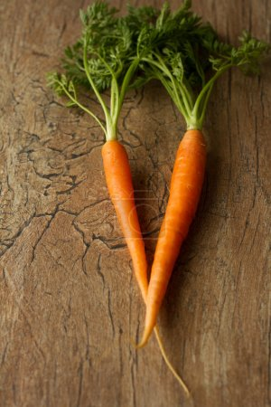 Delicious organic carrots on a brown background
