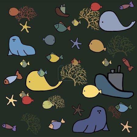 Photo pour Animaux marins. pour illustrer les livres pour enfants ainsi que la texture - image libre de droit