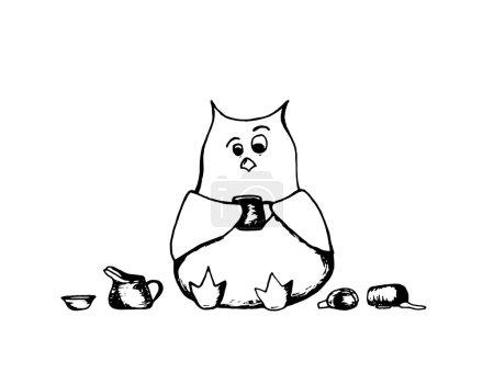 Coffee cup owl