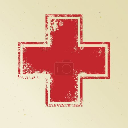 Red cross on yellow background