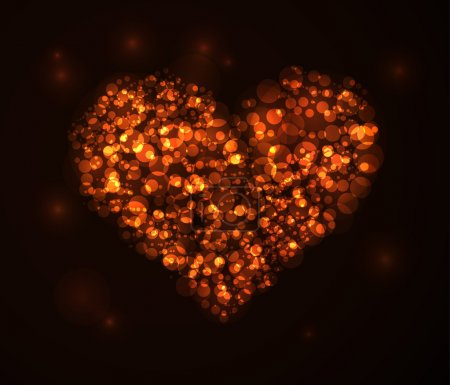 Photo for Circles Heart Shape Valentines Day Background on black background - Royalty Free Image