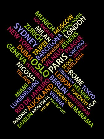 Photo for Vector Abstract made from names of big cities on black background - Royalty Free Image