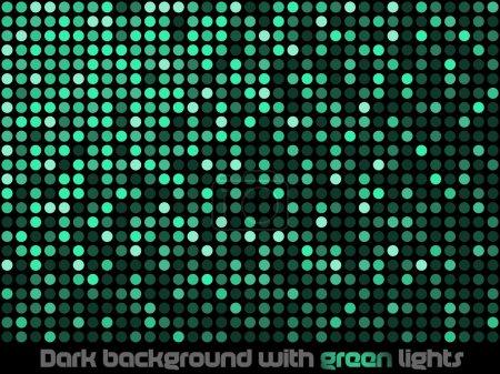 Illustration pour Fond sombre avec des lumières vertes . - image libre de droit