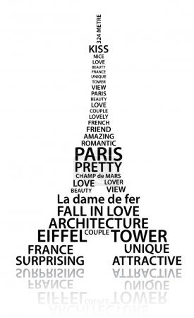 Photo for Abstract Eiffel tower made from words which relate with France and Paris - Royalty Free Image