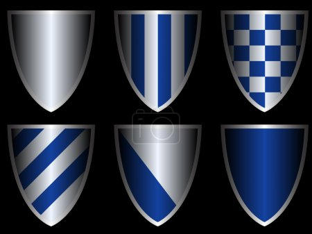 Photo for Vector set of six shields in blue and silver colors - Royalty Free Image