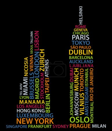 Photo for Abstract buildings made from names of big cities - Royalty Free Image