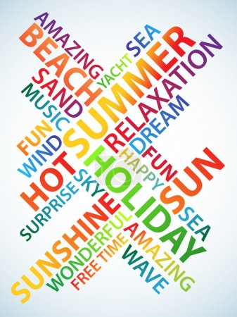 Photo for Abstract image made from words which relate with words holiday and summer - Royalty Free Image