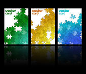 Three cards with mosaic made from puzzle pieces