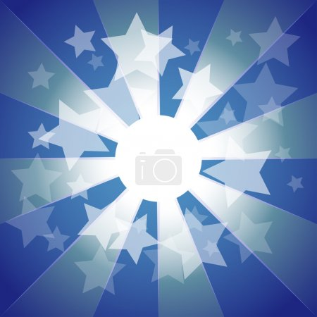Photo for Blue explosion background with stars and stripes - Royalty Free Image