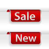 Set of ribbons or stickers with word sale and new