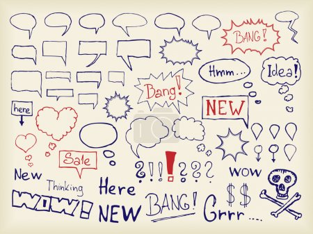 Illustration for Vector set of various bubbles for speech drawn by hand. - Royalty Free Image