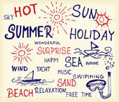 Drawings of things which relate with summer and holiday icons
