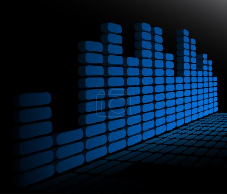 Photo for Blue mirrored equalizer for volume - Royalty Free Image
