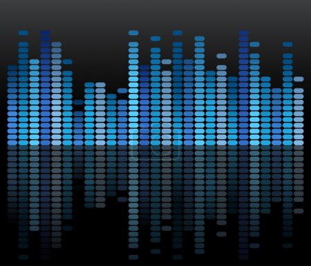 Illustration for Blue mirrored equalizer for volume - Royalty Free Image