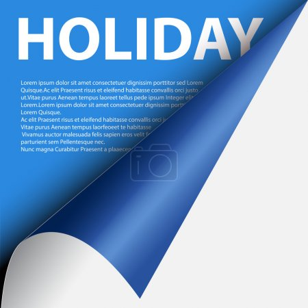 Illustration for Text holiday under blue curled corner background - Royalty Free Image
