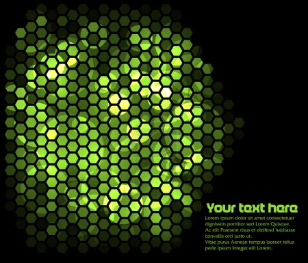 Photo for Lighting green hexagons in dark background - Royalty Free Image