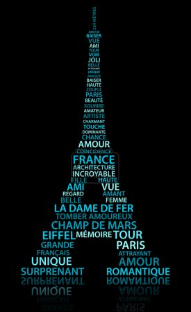 Photo for Abstract Eiffel tower made from relate words in French language - Royalty Free Image