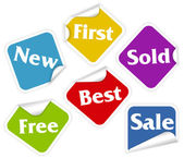 Set of six labels with word new first sold free best and sale