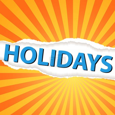 Photo for Text holidays under torn orange paper background - Royalty Free Image