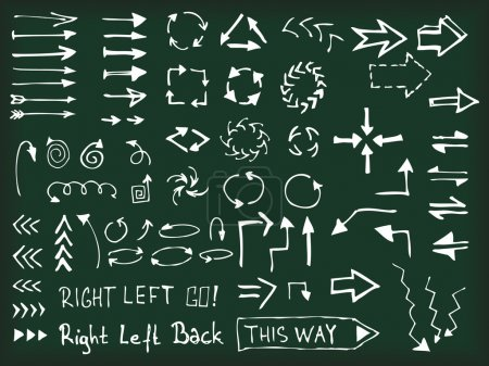 Photo for Set of hand drawn arrows on blackboard - Royalty Free Image