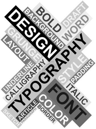 Illustration pour Affiche rétro abstraite réalisée à partir de mots liés au design et à la typographie - image libre de droit