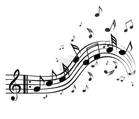 Illustration pour Notes noires sur fond blanc - image libre de droit