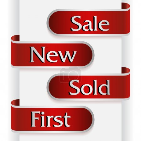 Photo for Set of red ribbons, stickers or labels with words: sale, new, sold and first - Royalty Free Image