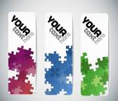 Set of three bookmarks or tickets with color puzzles