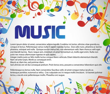 Photo for Music theme background with many colorful notes - Royalty Free Image