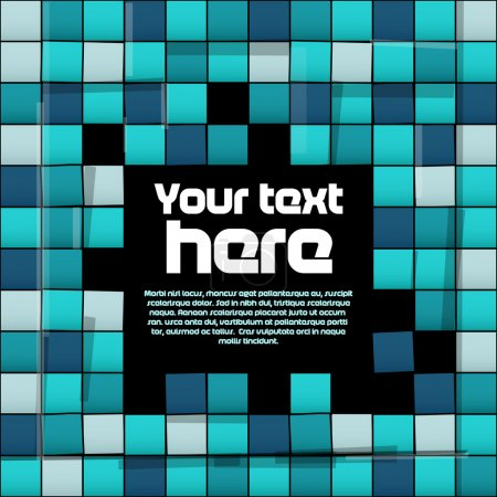 Photo for Seamless pattern with glossy tiles and black plate for text - Royalty Free Image