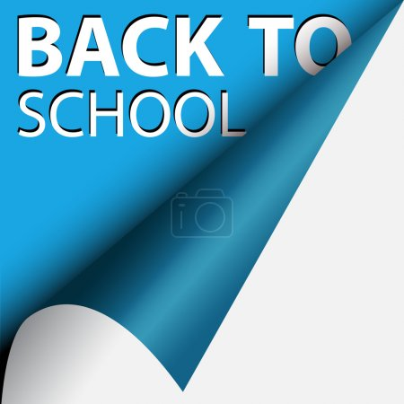 Photo for Text back to school under blue curled corner - Royalty Free Image